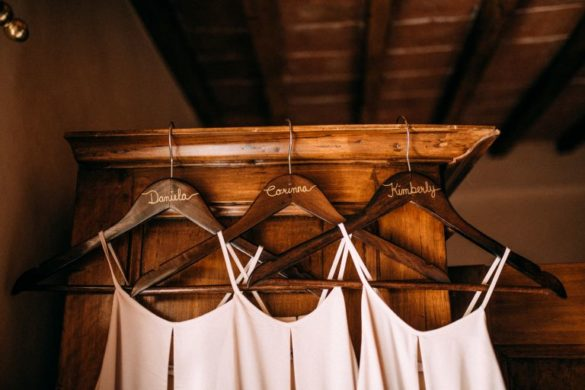 Bridesmaid dresses color blush on personalised hangers