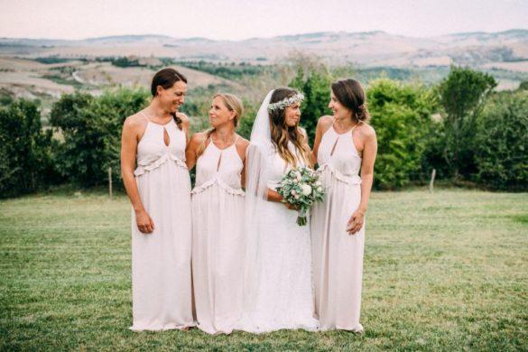 Bohemian bride with bridesmaids