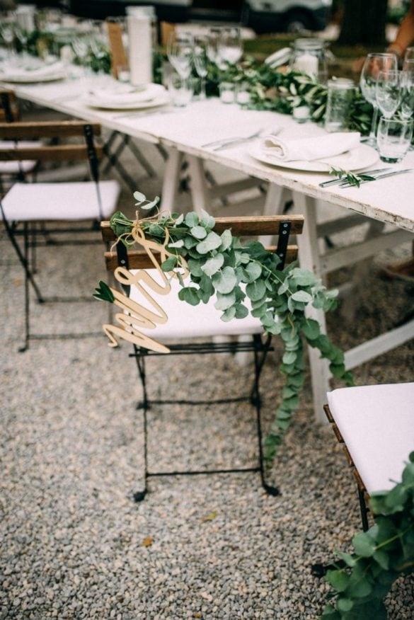 Ecualyptus garland chair and table decoration bohemian wedding