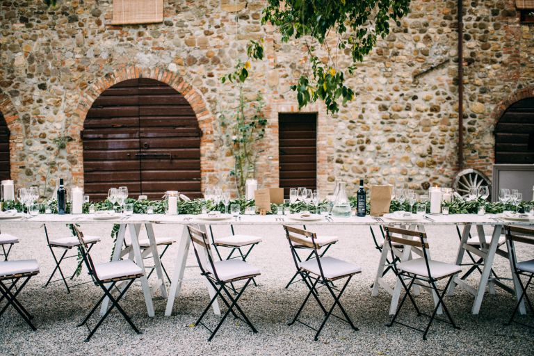 Ecualyptus garland dinner table decoration bohemian wedding
