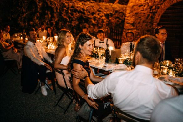 Wedding dinner at Tuscan borgo with courtyard