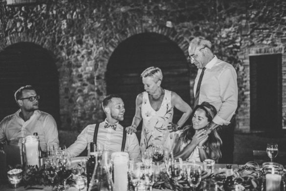 Boho country chic wedding dinner in the open air, Tuscany.