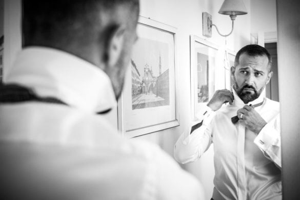 Groom is getting ready for his marriage in Tuscany.