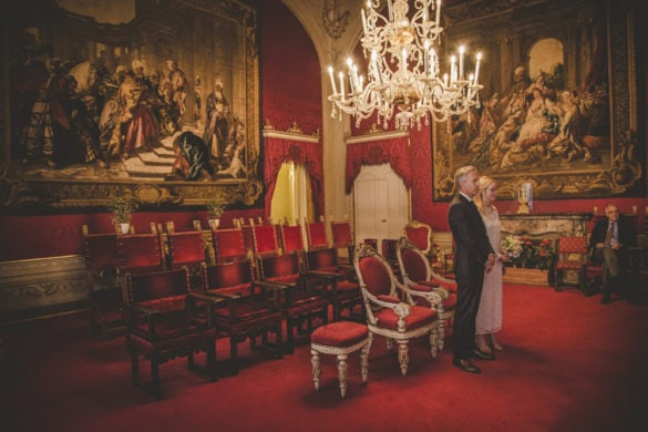 American couple getting married in Florence Tuscany Palazzo Vecchio