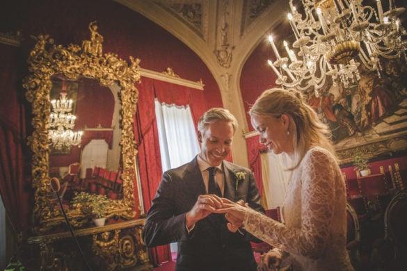 Ring exchange at gorgeous wedding hall Palazzo Vecchio Florence
