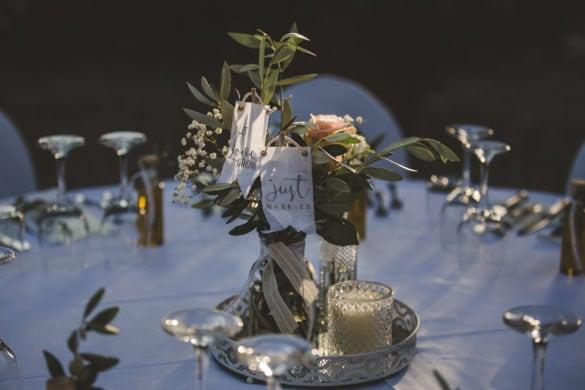 Detail Esstisch Hochzeitsmahlzeit